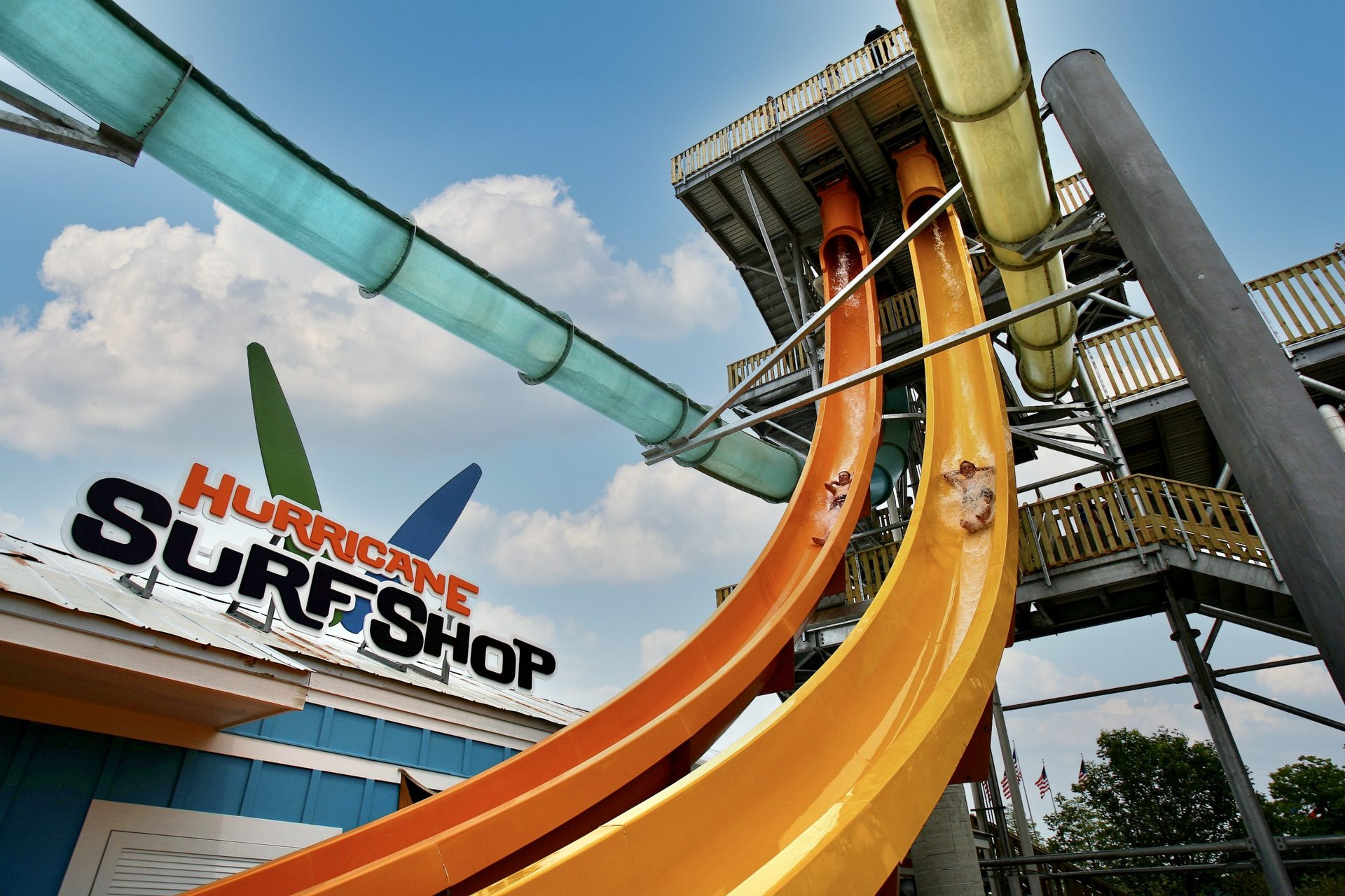 Mega Wedgie with riders going down at Hurricane Harbor Chicago