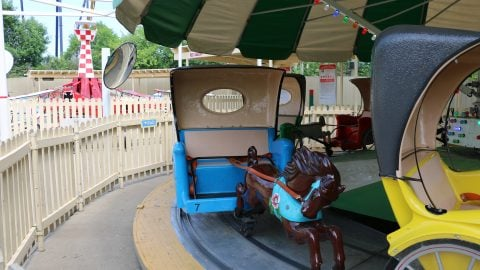Tots ride unit with no riders at six Flags