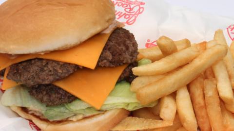 burger and fries at Johnny Rockets