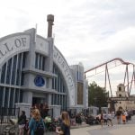 Justice League building with Raging Bull roller coaster at Six Flags