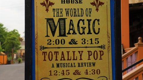 Sign for the Overholser Opera House's The world of Magic and Totally Pop show times at Six Flags