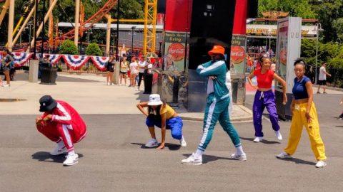 hip hop dancers performing at six flags
