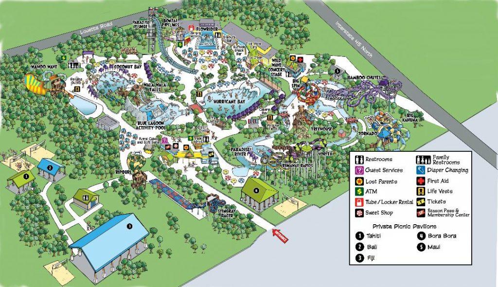 Hurricane Harbor Splashtown park-map-2021-revised