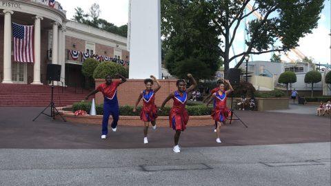 cheerleaders performing at six flags