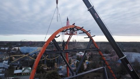 view of jersey devil coaster construction