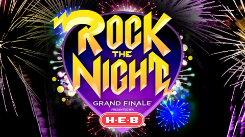 Rock the night logo on fireworks backgorund