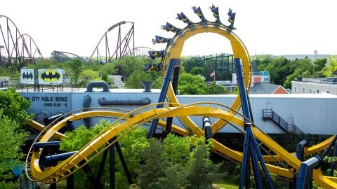 Batman the ride going through a loop at Six Flags