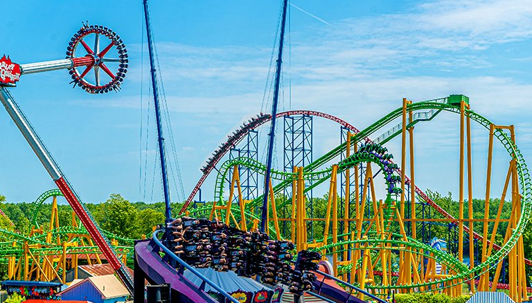 Harley Quinn Spinsanity, THE Riddler revenge, Superman The ride and Batman the Dark Night at six flags new england.