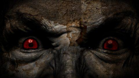 demonic red eyes staring at fright fest