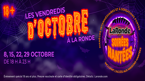 La Ronde Haunted Nights Banner in purple and orange
