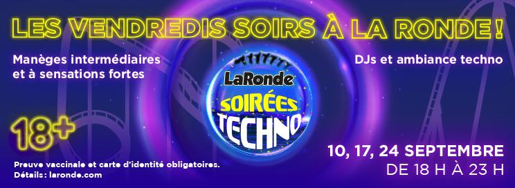 Techno event at La Ronde. Vaccination Required