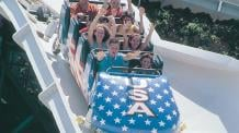 Guests riding Alpine Bobsled at Six Flags