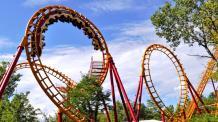 a view of boomerang coaster at Six Flags
