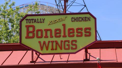 Totally Kickin' Chicken Boneless Wings sign