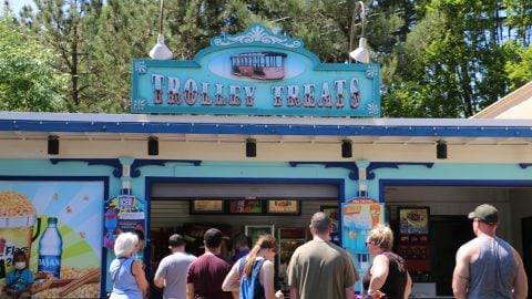 guests in front of trolley treats dining location at Six Flags