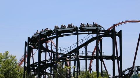 Image of Whizzer going up lift hill at Six Flags