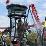 X-Flight train going through tower prop